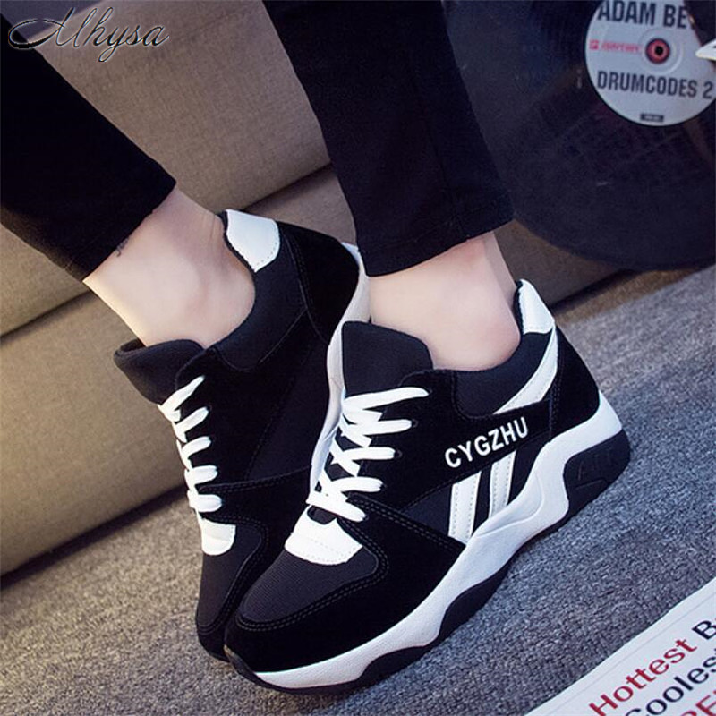 Mhysa 2019 Women Fashion Breathable Spring Flock  Flats Lace Up Ladies Shoes Woman Sneakers Tenis Feminino Casual Shoes T215