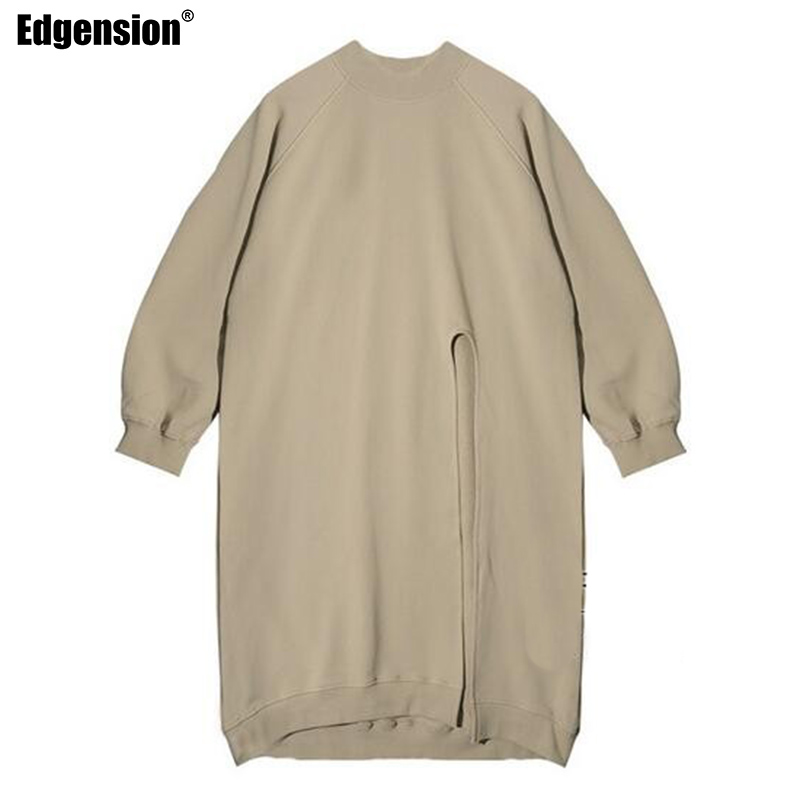 Edgension New 2017 Spring Fashion Funnel Neck Side Slit Loose Long Sweatshirts Korean Brand Split Turtleneck Oversize Sweat Suit