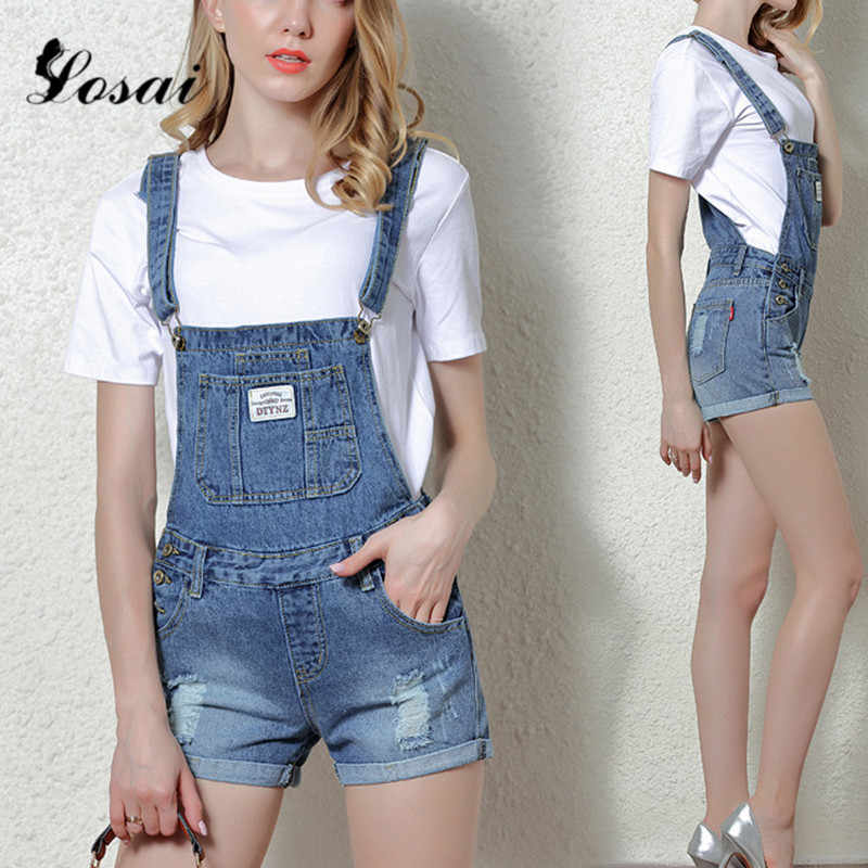 e6011f73d5e0 Women Denim Overalls Ripped Stretch Playsuit Dungarees High Waist Jumpsuit  Girls Short Jeans Pencil Shorts Rompers