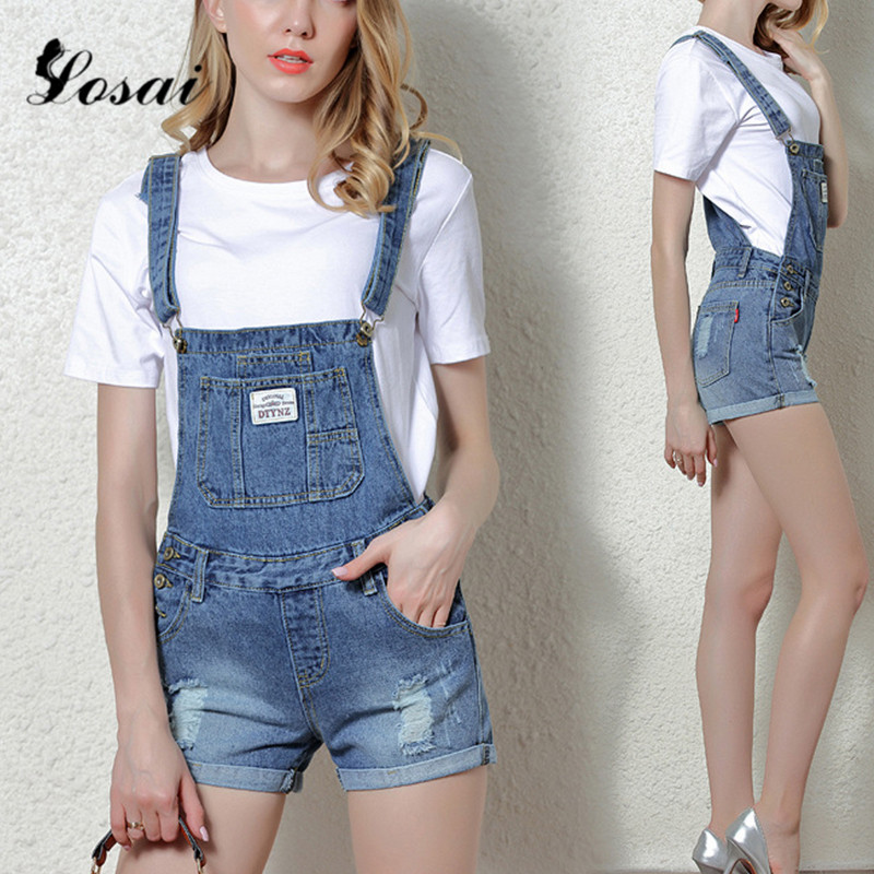 e8fdc54a3ee Detail Feedback Questions about Women Denim Overalls Ripped Stretch Playsuit  Dungarees High Waist Jumpsuit Girls Short Jeans Pencil Shorts Rompers  Jumpsuits ...