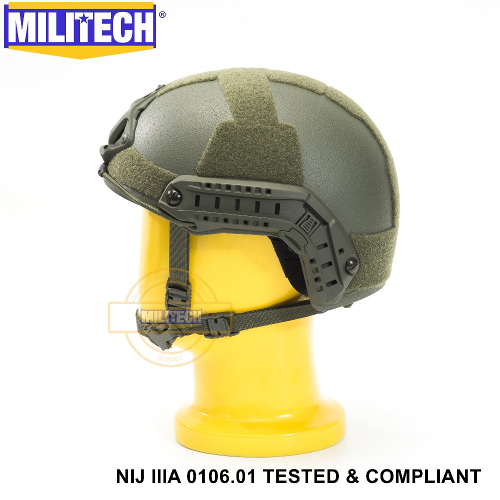 ISO Certified MILITECH OD NIJ Level IIIA 3A FAST OCC Liner High XP Cut Bulletproof Aramid Ballistic Helmet With 5 Years Warranty
