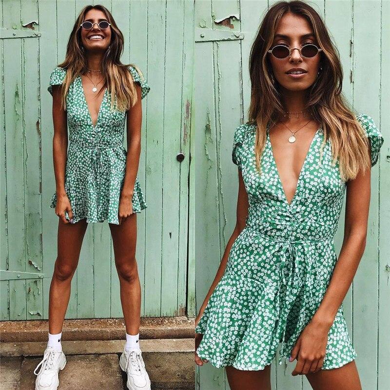 Women Boho Beach Summer Holiday Clothes Short Sleeve V-neck Floral Dress Elegant Playa Party Ladies Dress Fashion Tunic Sundress