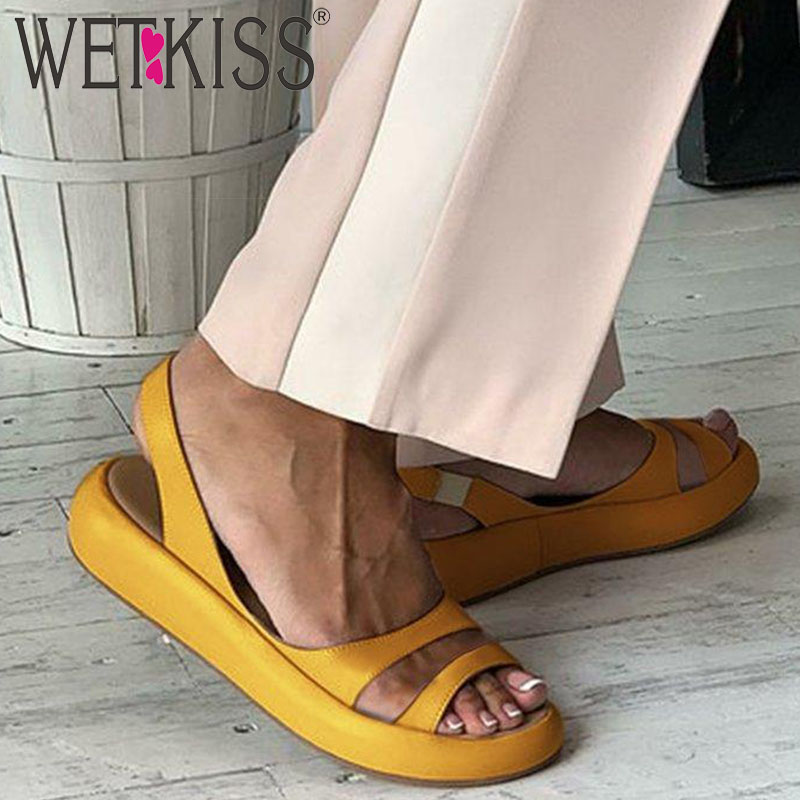 WETKISS Fashion Casual Flat Sandals Women Summer Sandals Platform Shoes Female Pu Slingback Girl Shoes Ladies 2020 New Yellow