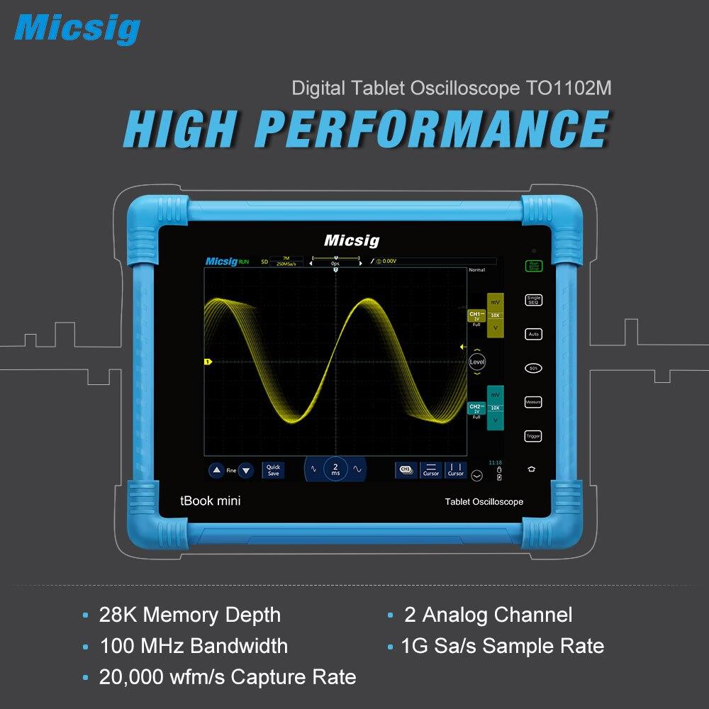 Micsig Digital Tablet Oscilloscope 100MHz 2CH Handheld Portable Oscilloscope Automotive Scopemeter Storage Osciloscopio TO1102M