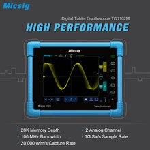 Micsig цифровой планшетный осциллограф 100 мГц 2CH ручной Портативный осциллограф Автомобильная Scopemeter хранения Osciloscopio TO1102M