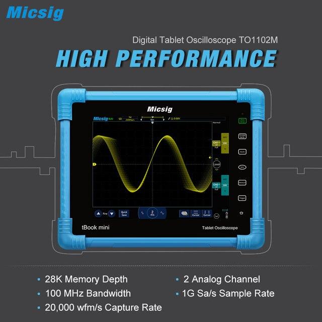Cheap Micsig Digital Tablet Oscilloscope 100MHz 2CH Handheld Portable Oscilloscope Automotive Scopemeter Storage Osciloscopio TO1102M