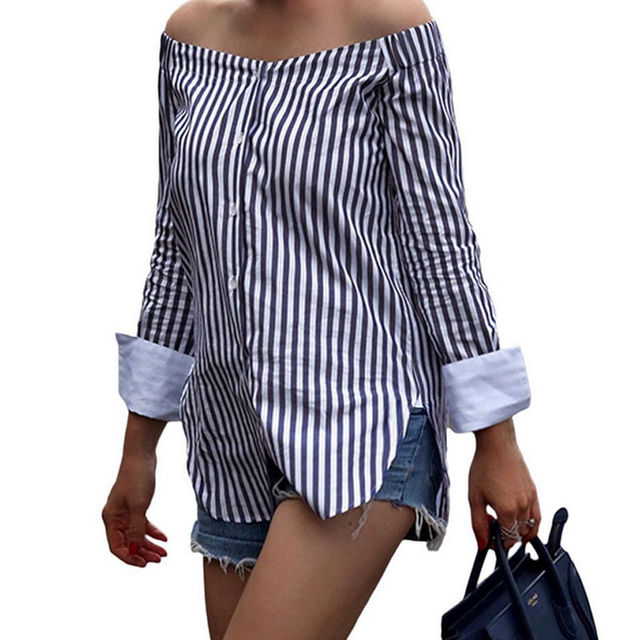 006361761f16b Sexy Women Ladies Off Shoulder Long Sleeve Top Blouse Sriped Summer Casual Shirts  Tops