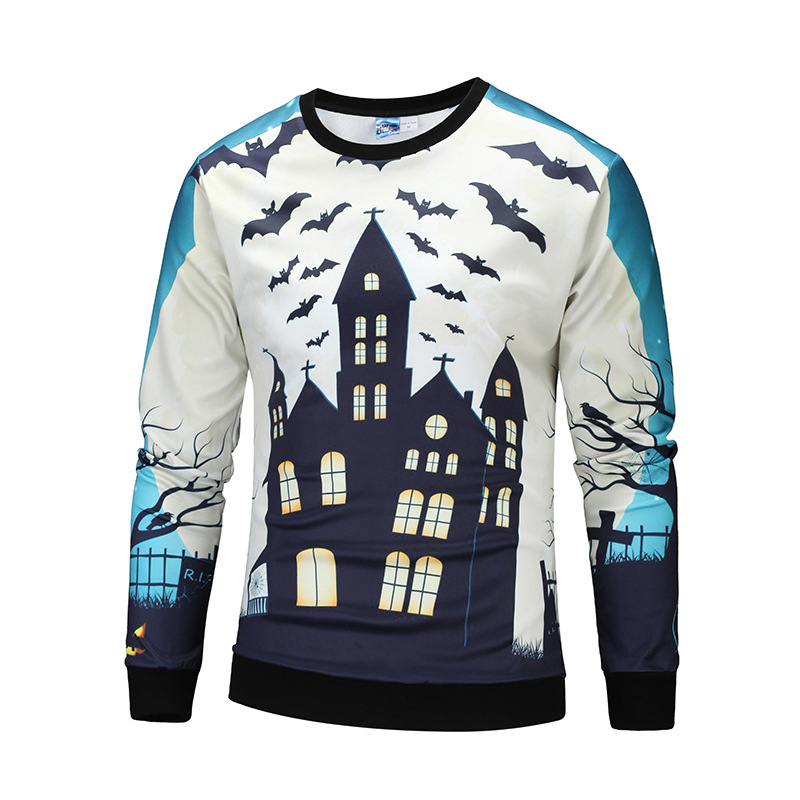 Autumn Fashion Sweatshirt Men Long Sleeve House Sky Print 3d Hoodies Men Halloween Men Hoodie Funny Men Clothing Brand