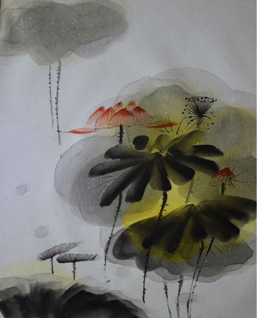 Handgemalte Öl Schmerzen auf Leinwand Abstrakte Schwarz Weiß Seerose ...