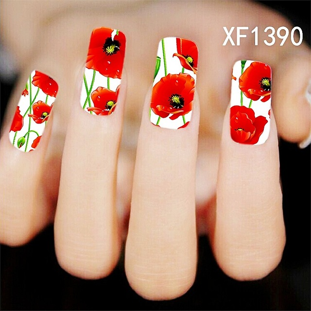 2016 New Minx Water Transfer Nail Art Stickers Beauty Red Tulip Flowers Painting Design DIY Manicure