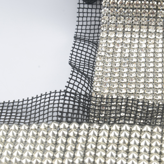 5eaa08fa57 US $141.1 15% OFF DHL free shippment! SS20 24 rows clear Crystal rhinestone  mesh trimming Silver black mesh fabric DIY sewing lace 5yards/roll-in ...