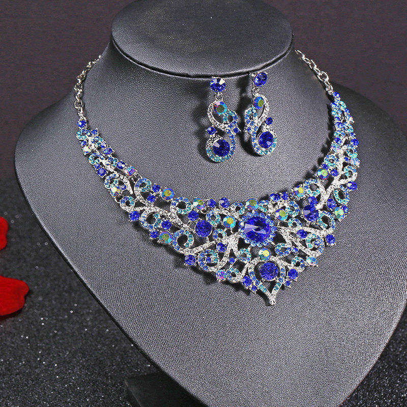 Silver Plated Celebrity Style Drop Crystal Necklace Earrings Set Bridal Bridesmaid Party Wedding Women Multi Color Jewelry Sets