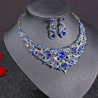 Silver Plated Celebrity Style Drop Crystal Necklace Earrings Set Bridal Bridesmaid Party Wedding Women Multi Color