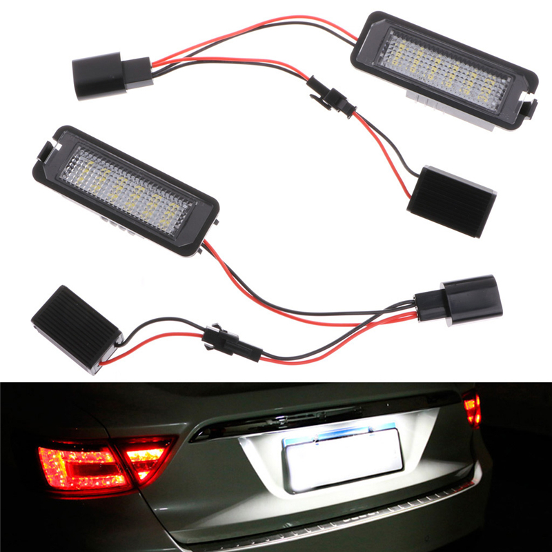 2pcs LED Number White (6000K) License Plate Light For VW GOLF MK4 MK5 MK6 PASSAT EOS ERROR FREE  high quality plastic and led bulbs 2pcs white error free 18 led license plate light lamp kit for vw golf eos passat polo phaeton