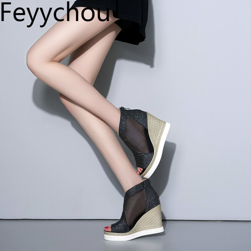 Women Sandals Lace Air Mesh Peep Toe Zip Wedges High Heels 2018 New Sexy Fashion Spring Summer Platform Party Casual Shoes Gold