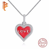 BELAWANG 2017 Valentine S Day Crystal Love Heart Red Enamel LOVE Necklace 925 Sterling Silver Jewelry
