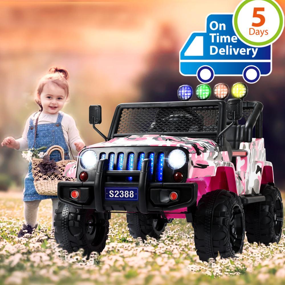 Uenjoy électrique enfants monter sur les voitures 12 V batterie puissance véhicules W/roues Suspension, télécommande, musique et histoire jouer, Camo Pink