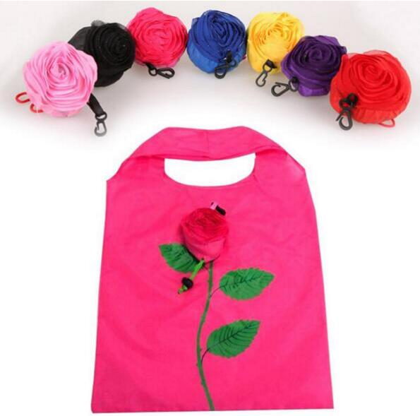 New Fashion Rose Flowers Reusable Foldable Bag Shopping Bag Travel Grocery Bags Tote Drop Shipping saf green leaves rose foldable red shopping bag handbag