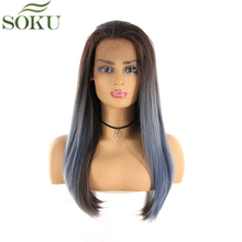 SOKU Synthetic Lace Front Wigs For Black Women Straight Ombre Color Free