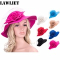 A306 Women's New Wide Brim Wool Acrylic Bowler Fedora Hat Floppy Church Fedora Hat Lady Floppy Clochet caps for Girls