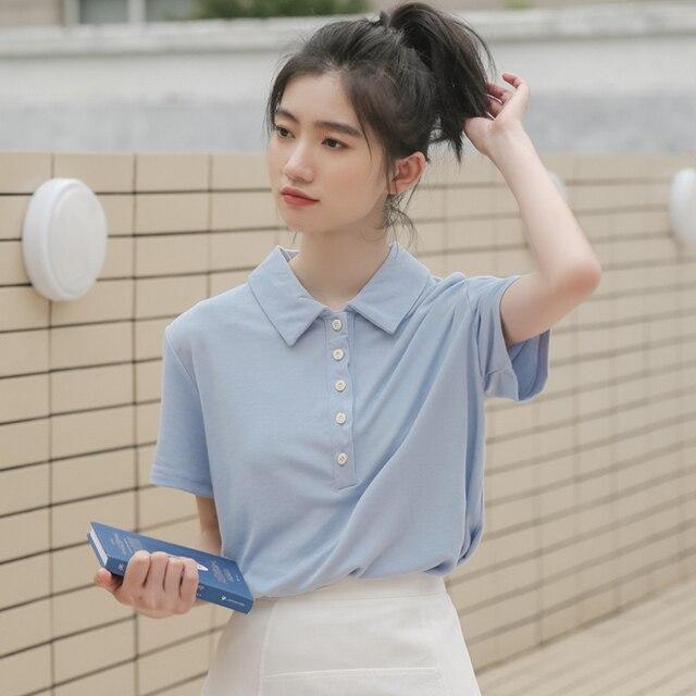 Ulzzang harajuku estilo coreano roupas mulheres camiseta 2019 verão tops moda camisa doce do vintage botão amigos t-shirt das mulheres