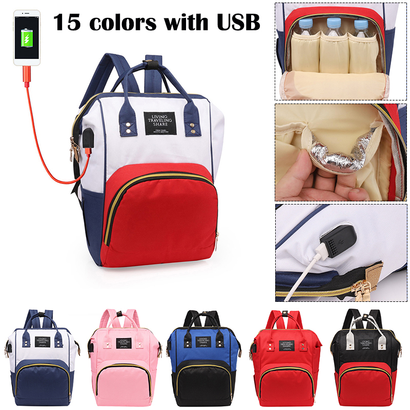 1pc USB Mummy Backpack Zipper Large Capacity Travel Maternity Bag Diaper Baby Bag Multifunctional Nursing Bag Backpack Baby Care