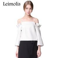 Leimolis 2017 Summer Spaghetti Strap Ruffles Lantern Sleeve Slash Neck Off Shoulder Harajuku Kawaii Cute T