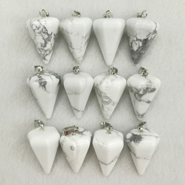 Wholesale howlite natural stone pendulum cone pendants charms wholesale howlite natural stone pendulum cone pendants charms fashion pendant for jewelry making 12pcslot aloadofball Images