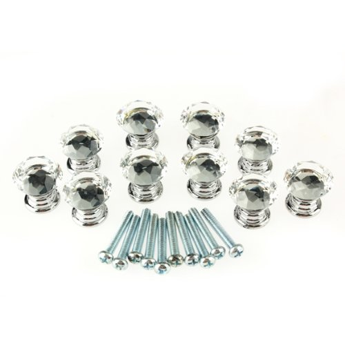 EWS!10 Pcs 20mm Crystal Glass Clear Cabinet Knob Drawer Pull Handle Kitchen Door Wardrobe Hardware