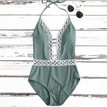 Sexy Women Swimwear Solid Lace Bathing Suit Deep V Swimwear Bodysuit Halter Beachwear Backless Women Monokini One Piece Swimsuit