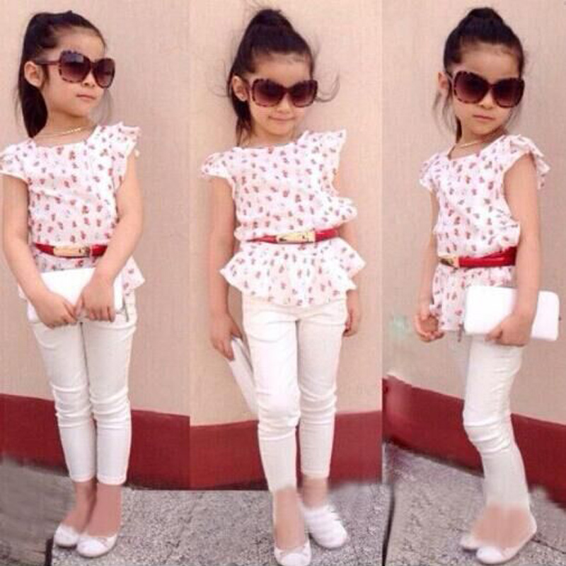 купить New Summer Fashion Girls Clothing Sets Baby Kids Clothes Suit Children cotton Sleeveless Flower T-Shirt + white Pants по цене 869.05 рублей