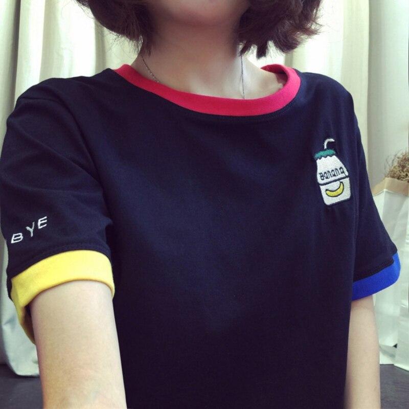2018 mujeres Niñas casual manga corta de dibujos animados patrón hit color camiseta suelta tamaño grande