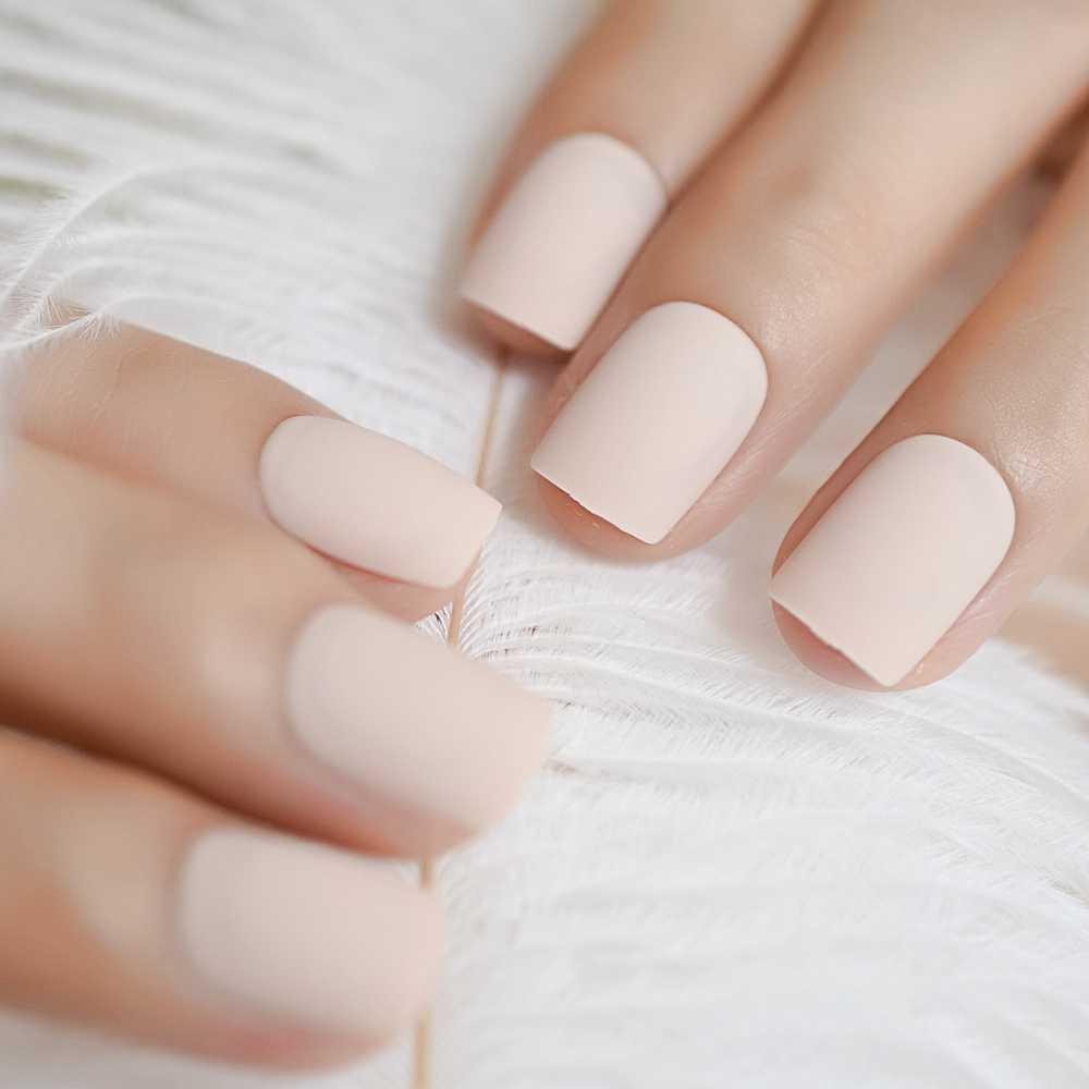 24pcs Pure Color Short Matte Nails SeaShell Flat Full