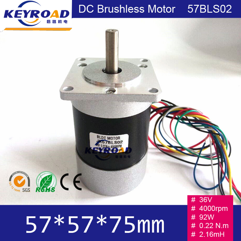 57mm 36V 92W 0.22 N.m BLDC Motor / Square Head and Circle Fuselage 4000rpm 3phase DC Brushless Motor Body length 75mm 57BLS02