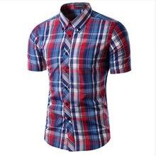 Клетчатая camisas короткий плед рукав случайные рубашка рубашки качества высокого мужские