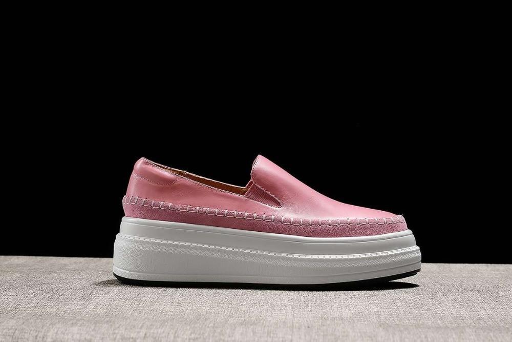 Chaussures Med Casual Vulcanisé Fond Épais Jeune Naturels En Rond 2019 Slip Bout La rose Lady Plate L9f1 forme Main Magnifique Noir Faits Cuir Sur À HfwvU