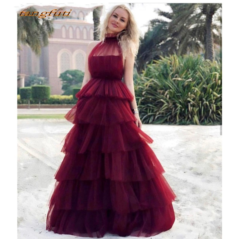 Burgundy   Evening     Dresses   Formal   Evening   2019 Long Sexy Puffy Tulle Ruffles Prom Party   Evening   Gown   Dress   Vestido Longo De Festa