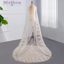 3 Meter White Ivory Cathedral Wedding Veils 2018 Long Lace Applique Edge Bridal Veil with Comb Accessories Bride Veu