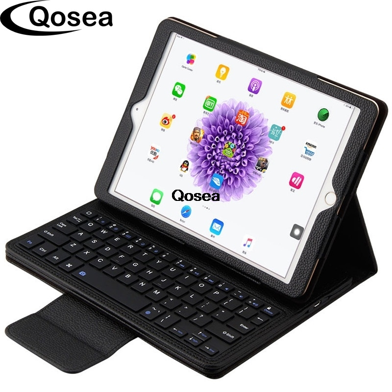 Qosea For Apple iPad Pro 9.7 Bluetooth keyboard Stand Cover 2 in 1 Detachable Wireless Bluetooth Keyboard Genuine Leather Case for apple ipad 5 air removable pu leather case stand cover wireless bluetooth keyboard usb cable for ipad 6 air2 pro 9 7