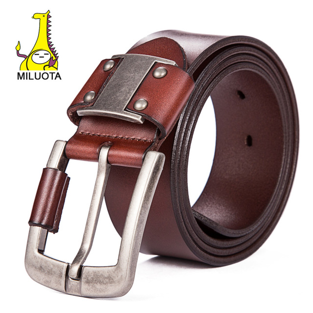 [MILUOTA] Luxury Belts for Men Genuine Leather Strap Male Fashion Brand Man Wide Tactical Belt LW052