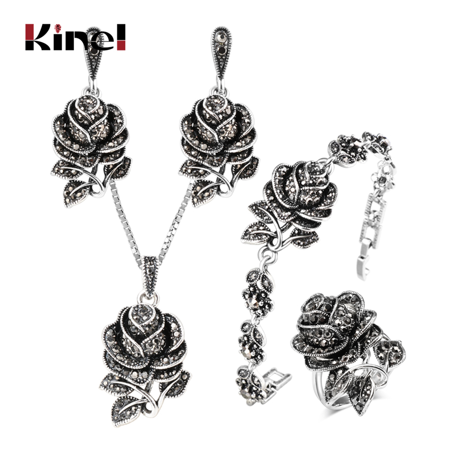 Kinel 4pcs Vintage Silver Color Jewellery Set Fashion Black Crystal Rose Flower Jewelry Sets For Women Wedding Party Gift