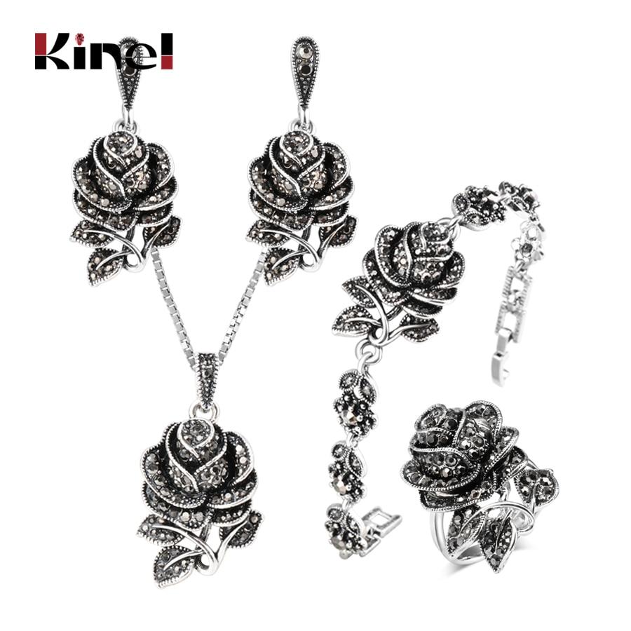 Kinel 4pcs Vintage Silver Color Jewellery Set Fashion Black Crystal Rose Flower