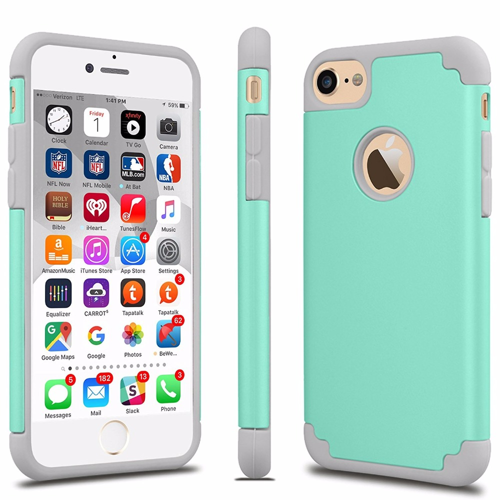 For iPhone 7 Case Shock Absorbing Hard Hybrid Slim Thin ...