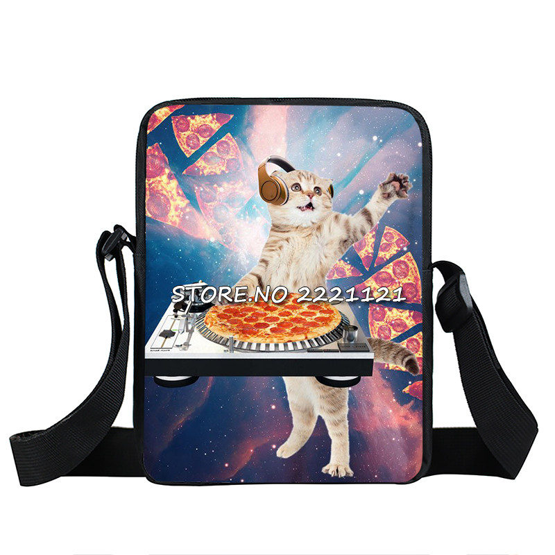 Cute Kitten Mini Messenger Bag Cat Eating Tacos Pizza Crossbody Bag Women Handbags Children Shoulder Bags Kids School Bags