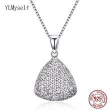 Solid 925 Sterling Silver Pendant Necklace Crystal Jewelry Lovely Suspension Charm Pretty Pendants for Women