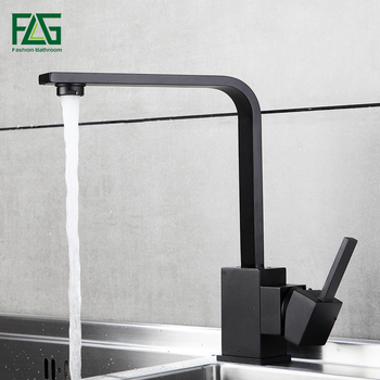 FLG Kitchen Faucets Brass Kitchen Sink Water Faucet 360 Rotate Swivel Faucet Mixer Single Holder Single Hole Black Mixer Tap