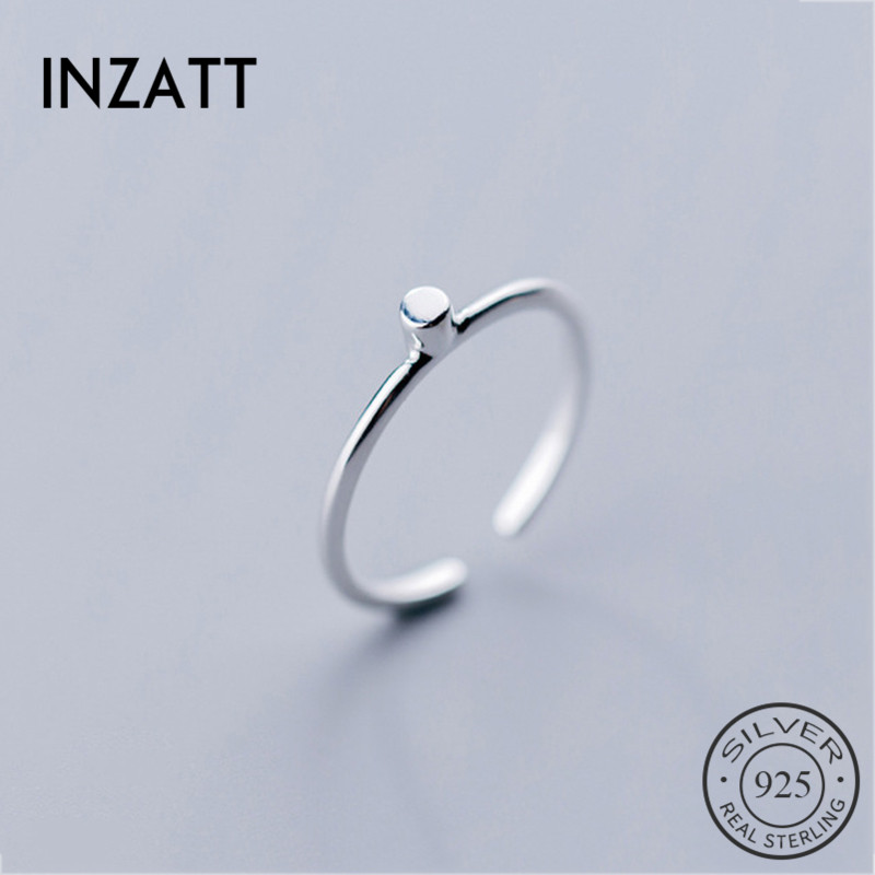 INZATT Real 925 Sterling Silver Geometric Tiny Cylinder Ring For Fashion Women Party Gift Fine Jewelry Trendy Adjustable Ring