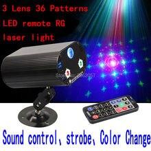 3 lens36 Вышивка Крестом Картины RG светодиодный дистанционного лазерного света рождественские украшения для дома диско DJ лазерный проектор праздник вечерние освещения сцены