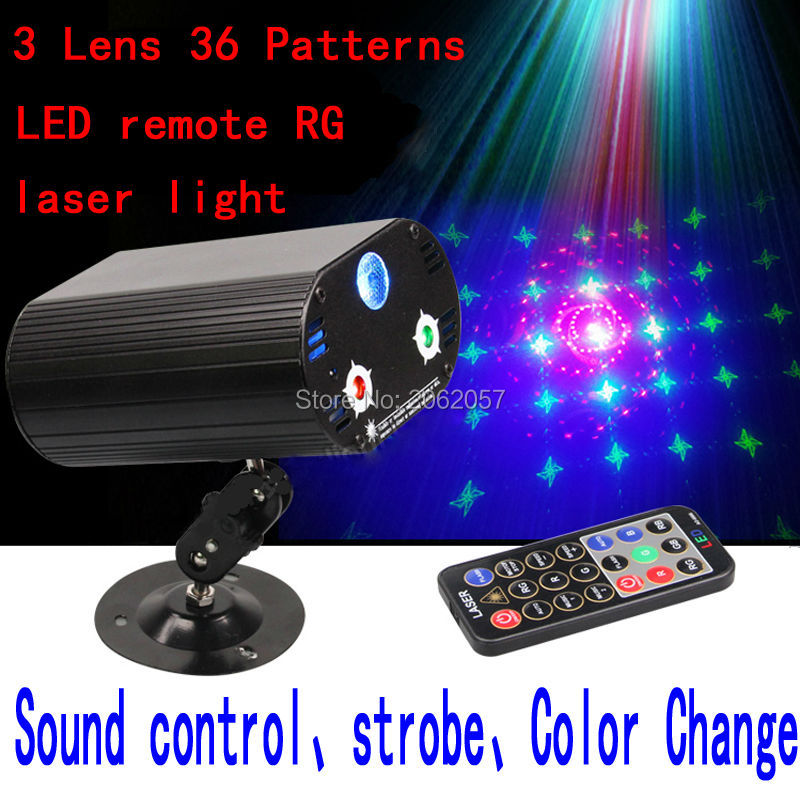 3 Lens36 Patterns RG LED remote laser light christmas decorations for home DJ DISCO laser projector holiday party stage lighting