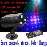 Promo 3 patrones Lens36 LED a distancia luz láser decoraciones de Navidad para el hogar DJ DISCO Proyector láser fiesta iluminación de escenario